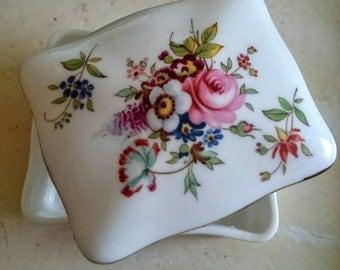 Vintage Hammersley Floral Trinket Box. Porcelain Box