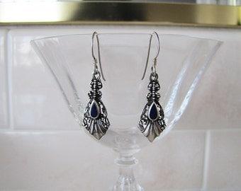 Art Nouveau Style Sterling Silver Ornate Dangle Earrings, Sale