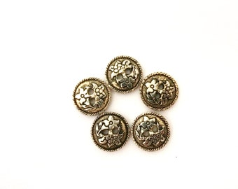 5 Gold Flat Buttons, Flower, Flowers, Tiny Buttons