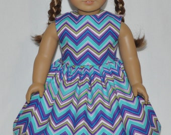 Pretty Blues Chevron Doll Dress Made To Fit 18 Inch American Girl Doll Clothes