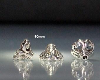 6 pcs Antique Silver Bead Caps Cones 10mm Heart Design
