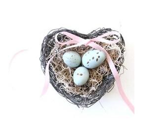 Bird Nest with Eggs / ring bearer pillow alternative . bird nest decor . ring pillow alternative . shabby chic decor . robin egg blue