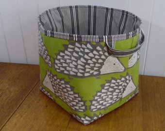 Spike Hedgehog Print Oilcloth Big Cube Storage Basket Bin- striped ticking lining 1