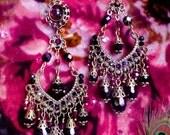 "Black Crystal & Garnet Red Chandelier Earrings, Gothic Victorian Black Glass Jewelry, 3 3/4"", Bronze, Clip-On Option,  Dark Nocturnal"