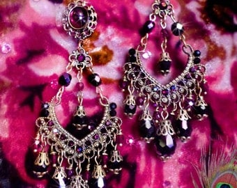 "Black Crystal & Garnet Red Chandelier Earrings, Gothic Victorian Black Glass Jewelry, 3 3/4"", Bronze, Clip-On Option,  Dark Nocturnal"