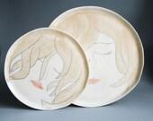 set of plates, handmade porcelain plate, thin translucent porcelain dish, unique pottery set, modern ceramic tableware, face plate, karoArt