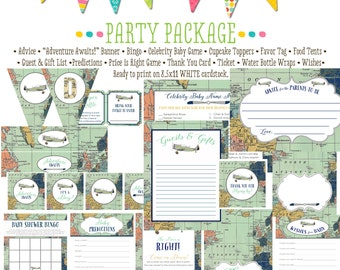 Travel Themed oh the places you'll go baby shower Adventure Awaits airplane world map party package game bingo wishes 12124 Katiedid Designs