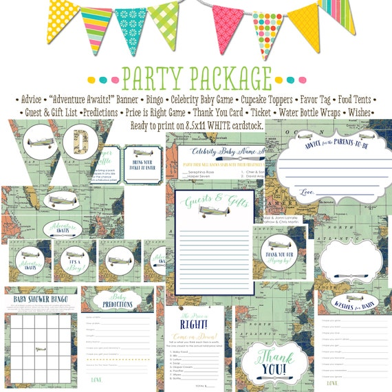 Adventure awaits airplane world map 12124 package AS IS Matching ticket, banner, bingo, thank you card, water bottle wraps, cupcake toppers