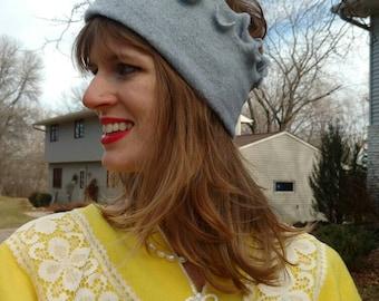Light Gray Fleece Wide Earwarmer Headband Hat -frilly edge