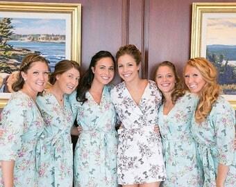 Blue Bridesmaid Robes. White Bridal Robe. Blue Bridesmaids Robes. Bridesmaids Robes Collection. Knee Length.