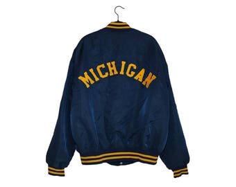 Vintage University of Michigan Simple Block Letter M Logo Maize & Blue Button Up Coaching Jacket, Made in USA - XL