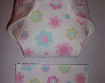 Baby Doll Diaper/wipe - pretty pastel pink, turquoise, and green flowers on white  - adjustable for many dolls such as bitty baby