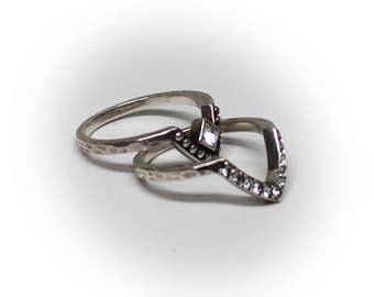 Sterling Silver Ladies Stackable V-Shaped Fashion Rings