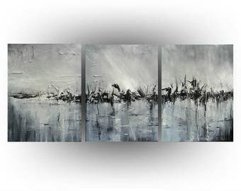 Triptych Abstract Original painting Acrylic Palette knife Black and White  - The land Time Forgot - 24 x 54 - by Skye Taylor