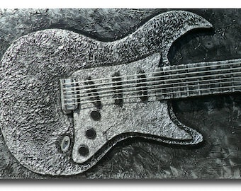 Fathers Day READY TO SHIP-Custom Guitar Art Personalized Stratocaster Electric Guitar 3d  Music Wall Art Metallic Silver-30 x 48-Skye Taylor