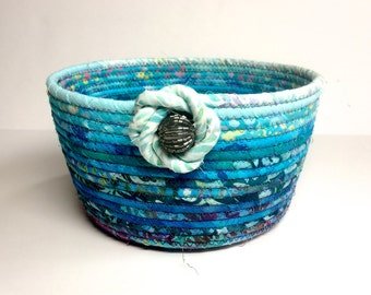 Aqua and Purple Basket Coiled Rope Clothesline Bowl  OOAK Handmade Organizer  Family Easter Basket  Batik Fabric Bowl  Functional Fiber Art