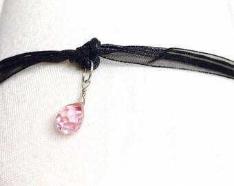 Romantic Black Lace choker, Pink Swarovski crystal charm, dainty, Goth, juvenile, item no. H200