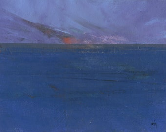 Original seascape painting - Fading storm and rising tide