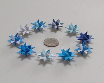 mini Moravian Stars (10): Shades of Blue, 1 inch across