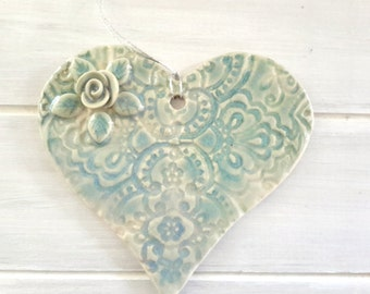 Pottery Heart Ornament - Aqua Heart - Turquoise Heart Valentine Ornament - Ceramic Heart Ornament with Rose Lace Texture