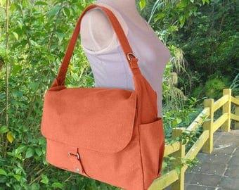 Fathers Day Sale 20% off orange school bag, travel bag, crossbody bag, messenger bag, hand bag for men and women