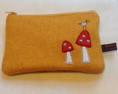 Toadstools & bird zipper purse, small make up bag, yellow Harris Tweed, freehand machine embroidered purse, zipped pouch, cosmetic bag