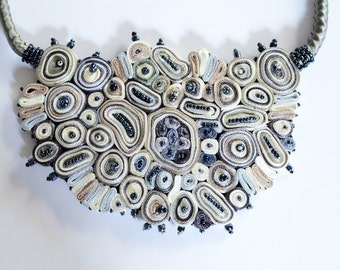 Extravagant statement necklace / modern necklace / wedding necklace / bib necklace / huge fabric necklace / contemporary jewelry