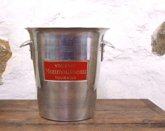 French Wine bucket ice cooler bottle champagne vintage red aluminium aluminum