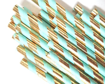 Mint Green and Gold Paper Straws - Set of 25 Straws - Metallic Gold Girl's Birthday Party - First Birthday