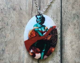 Zombie pinup necklace