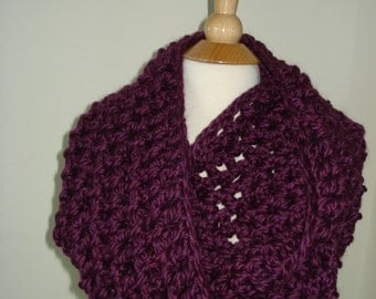 Funky Handmade Purple Crochet Infinity Scarf / Cowl