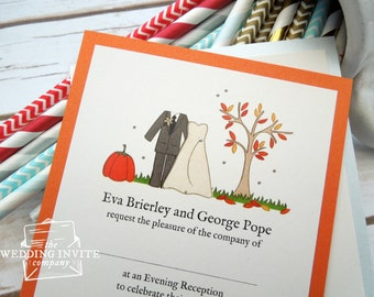 Autumn Bride and Groom Postcard Wedding/Evening Invitations