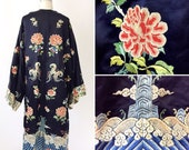 Antique Asian Hand Embroidered Silk Robe