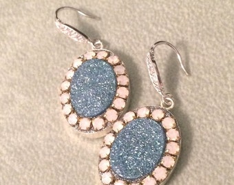 SUPER SALE Blue Aura druzy and pink opal crystal sterling silver earrings
