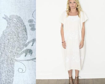 Vintage Hand Embroidered Mexican Tunic Dress , Bird Print Dress , White on White Embroidery , White Mexican Kaftan