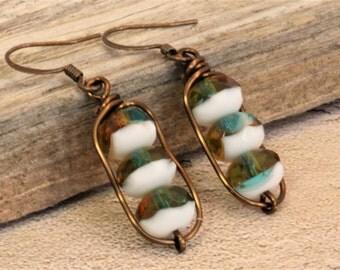 Boho Earrings / Czech Glass Bead Earrings / Earthy Earrings / Rustic Earrings / Amber Blue Zircon White Rondelle Bead Earrings