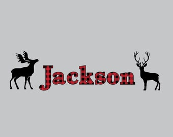 Name decal with Deer, Antler, Lumberjack-Children's Nursery Wall Decals-Forest Woodland Decals-Deer, Moose, Wall Stickers-Boy Nursery Decor