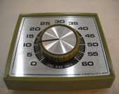 Vintage Westclox Long Ring Kitchen Timer Counter Or Wall Mount Avacodo Green