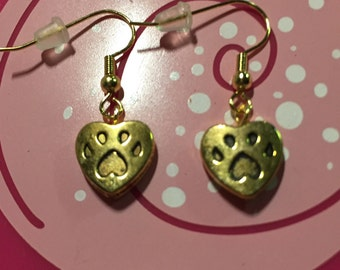 Gold paw earrings