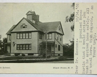 Black River N.Y. High School Postcard, Antique 1905 Upstate New York Ephemera, FREE SHIPPING