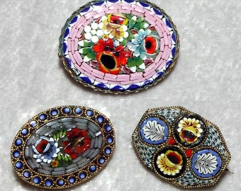 Micromosaic 3-Piece Vintage Italian Brooch Lot, Gorgeous Flowers, Floral Costume Jewelry Pins, FREE SHIPPING