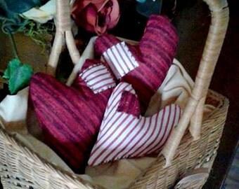 Primitive Heart Bowl Fillers - Set of 3 - Primitive Valentine's Day - Wedding - Anniversary -