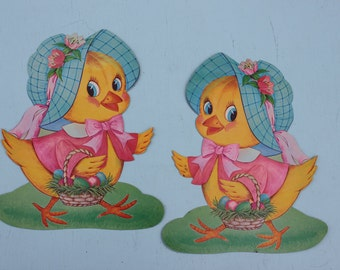 Vintage Cardboard Die Cut Easter Dennison Chicks, Pair