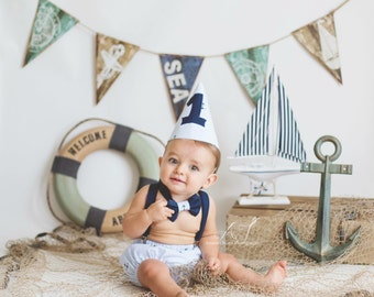 Nautical Smash Cake Outfit, Birthday Boy Outfit,  Bow tie, Suspenders, Diaper Cover and Party Hat