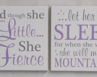 Nursery Wall Signs - 2 Signs: She is Fierce, She will move Mountains - LARGE Art Sign - White, Gray, & Purple - Girl Nursery Art