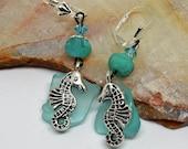 Sea Glass Earrings, Sea Horse Earrings, Seaglass Beach Glass, Seahorse Earrings, Mermaid Earrings