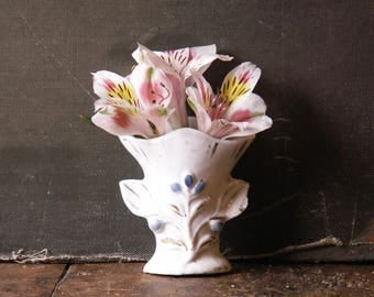 Vintage Tiny Cottage Vase with Blue and Gold Floral Accents