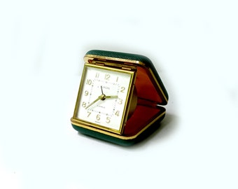 Vintage collectible retro green German Europa fold up alarm clock, Europa travel clock