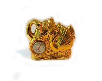 Vintage Japanese gold swan thermometer, kitsch kawaii gold swan