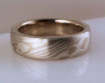 handmade wood grain wedding band etched mokume gane 14k palladium white gold and sterling